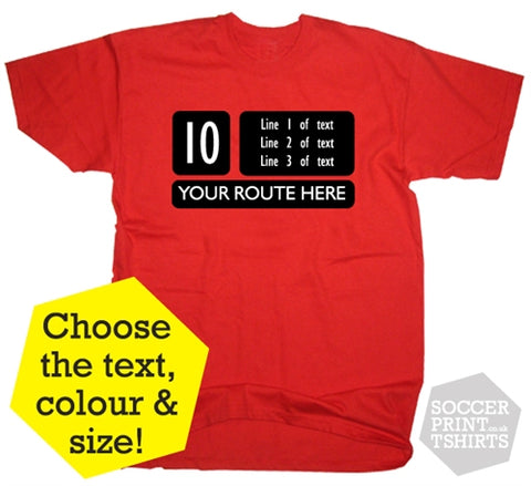 London Red Bus Routemaster Custom Route T-Shirt