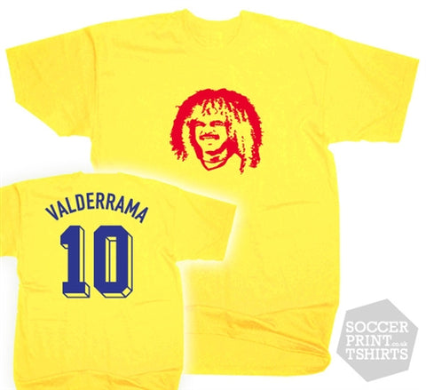 Carlos Valderrama Colombia Number 10 Face T-Shirt
