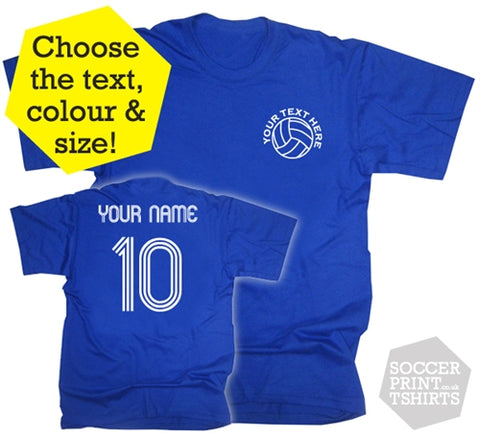 Personalised Retro Football T-Shirt in Children's & Adult Sizes
