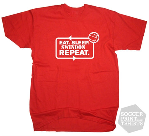 Eat Sleep Swindon Town Repeat Football T-Shirt