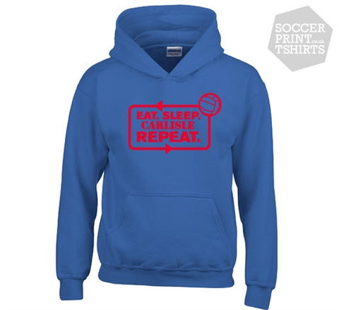Funny Eat Sleep Carlisle United Repeat Football Hoody
