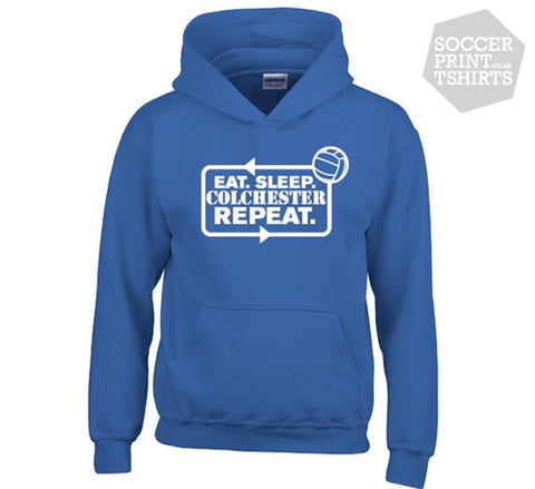 Funny Eat Sleep Colchester United Repeat Football Hoody