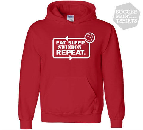Funny Eat Sleep Swindon Town Repeat Football Hoody
