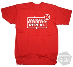 Funny Eat Sleep Exeter City Repeat Football T-Shirt