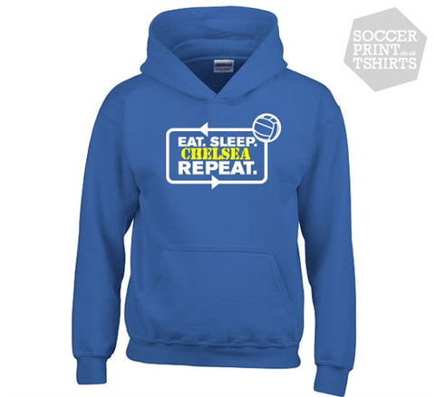 Funny Eat Sleep Chelsea Repeat Football Hoody