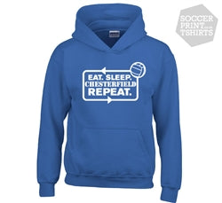 Funny Eat Sleep Chesterfield Repeat Football Hoody