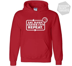 Funny Eat Sleep Exeter City Repeat Football Hoody