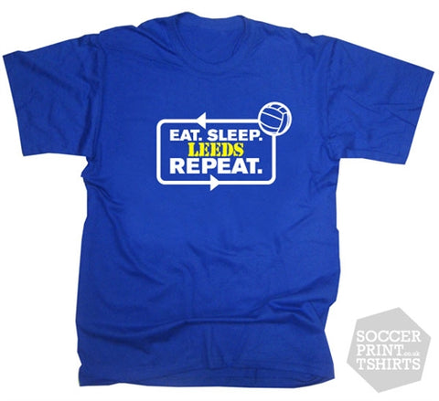 Eat Sleep Leeds Repeat Football T-Shirt