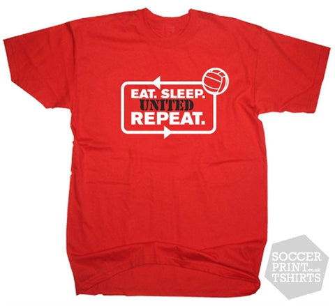 Eat Sleep Manchester United Repeat Football T-Shirt