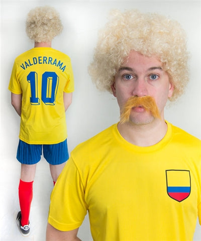 Carlos Valderrama Colombia Football Fancy Dress Costume