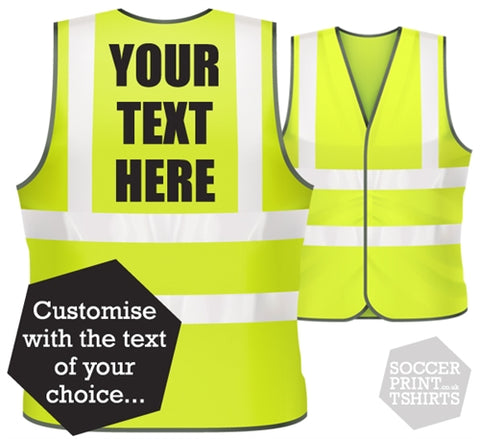 Personalised Custom Text Hi Vis Work Safety Vest
