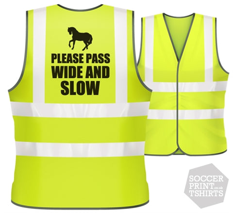 Horse Riding Pass Wide & Slow Road Safety Hi Vis Viz Vest in All Sizes