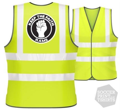 Derby RAMS Keep the Faith football Hi Vis Work Vest