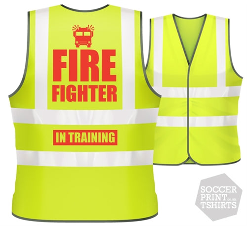 Children's Funny Fireman In Training Fire Fighter Fancy Dress Hi Vis Work Vest