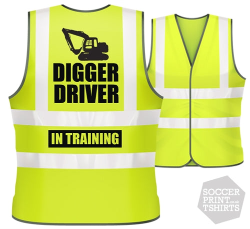 Children's Funny Digger Driver in Training Hi Vis Work Vest