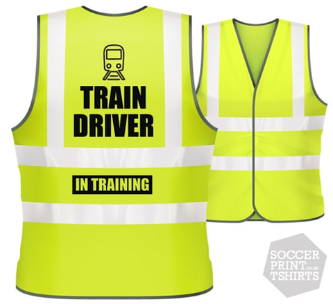 Children's Funny Train Driver in Training Hi Vis Work Vest