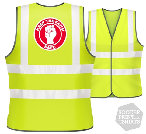 Sunderland SAFC Keep the Faith football Hi Vis Work Vest