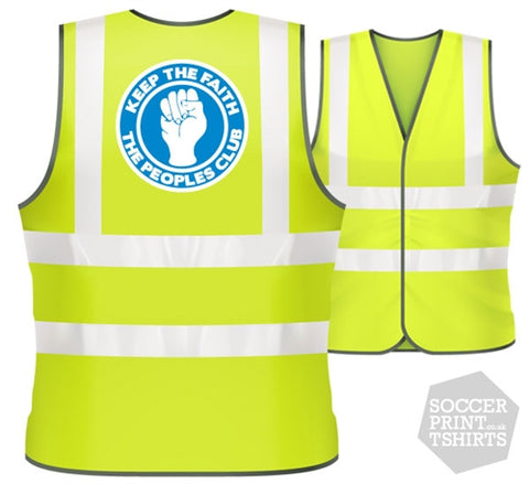 Everton The Peoples Club Keep the Faith football Hi Vis Work Vest