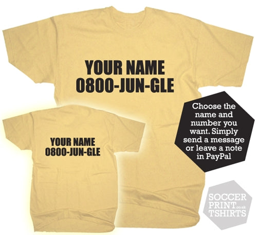 Funny I'm A Celebrity Jungle Replica Custom Name & Number Fancy Dress T-Shirt