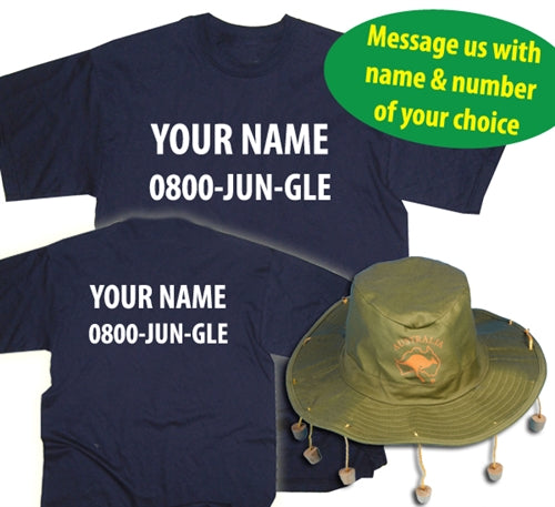Funny I'm A Celebrity Jungle Custom Name & Number Fancy Dress T-Shirt + Australian Hat