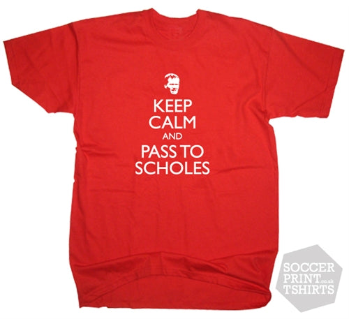 Man Utd Keep Calm & Pass To Paul Scholes Football T-shirt