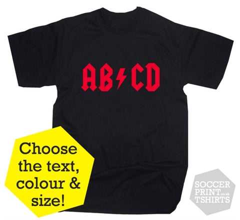 Custom AC DC Rock Style Music Personalised T-Shirt