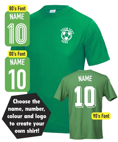Personalised Text Custom Name & Number Football T-Shirt