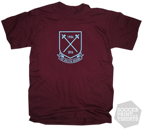 West Ham Boleyn Ground 1904-2016 Tribute Football T-Shirt