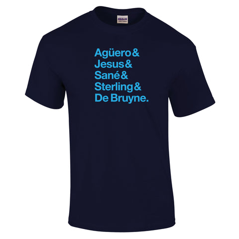 Manchester City Attacking Heroes Text T-Shirt