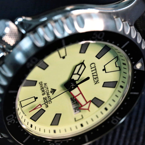 CITIZEN PROMASTER AUTOMATIC DIVER 200M FUGU FULLY LUMED DIAL LIMITED EDITION NY0119-19X www.watchoutz.com