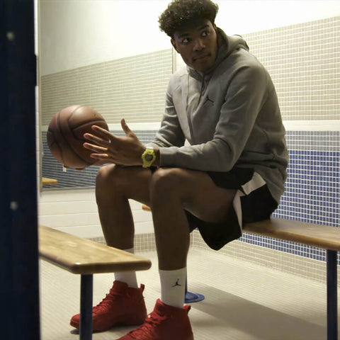 Rui Hachimura in Casio G-shock Lightning Yellow Series www.watchoutz.com