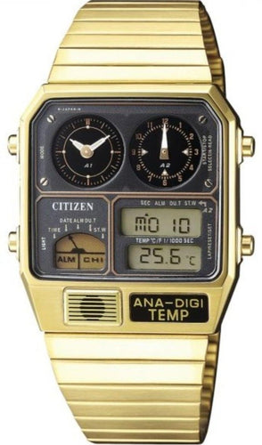 CITIZEN ANA-DIGI TEMP DIGITAL ANALOG TEMPERATURE DISPLAY GOLD JG2008-81E www.watchoutz.com