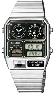 Citizen Retro Analog-Digital Temperature Display ANA-DIGI-Temp Silver JG2101-78E www.watchoutz.com