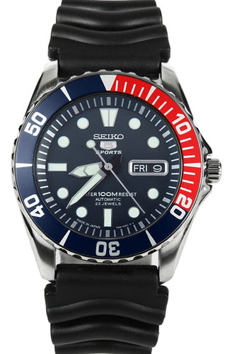 Seiko 5 Sports Automatic Diver SNZF15J2 Red Blue Bezel Japan Made www.watchoutz.com