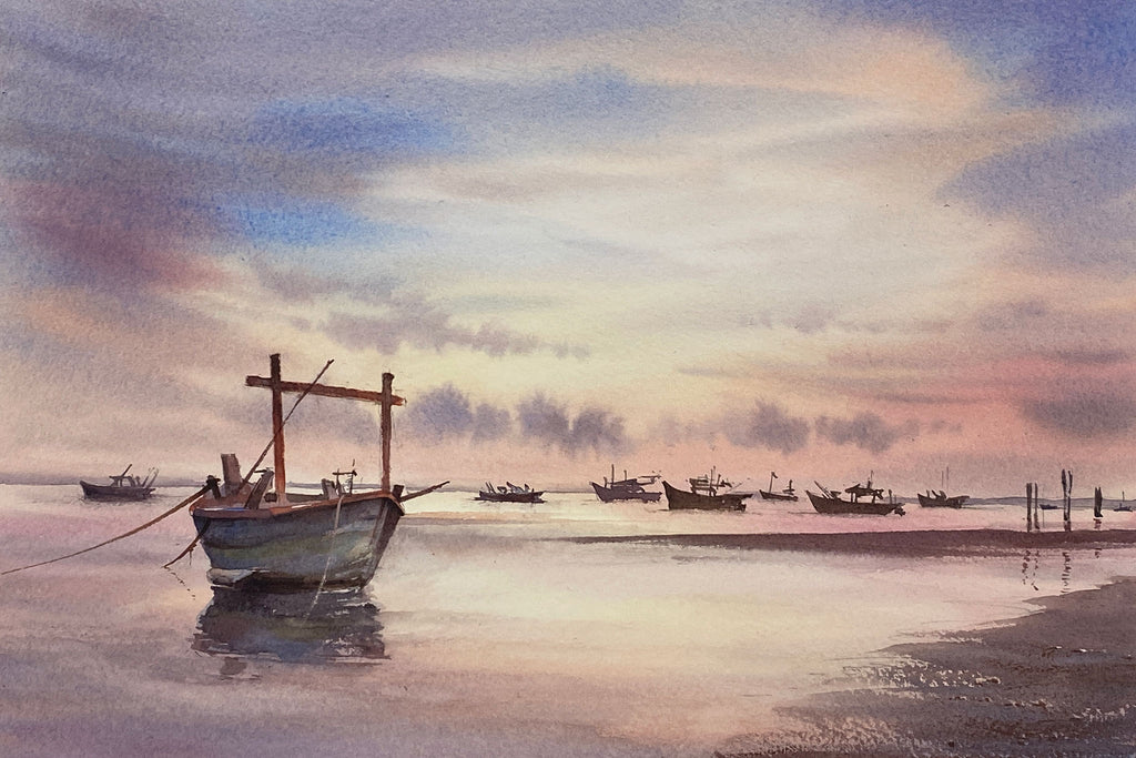 Fishing Boats in Silhouette - Preview