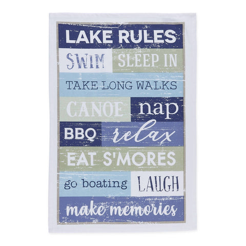 Lake Rules Printed Dishtowel