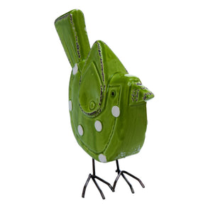 Ceramic 9 in. Green Spring Polka Dot Bird Figurine