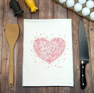 Heart Flour Sack Tea Towel