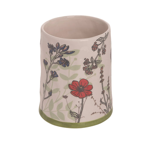Dolomite 7 in. Multicolor Spring Pressed Floral Print Utensil Holder