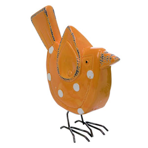 Ceramic 9 in. Orange Spring Polka Dot Bird Figurine