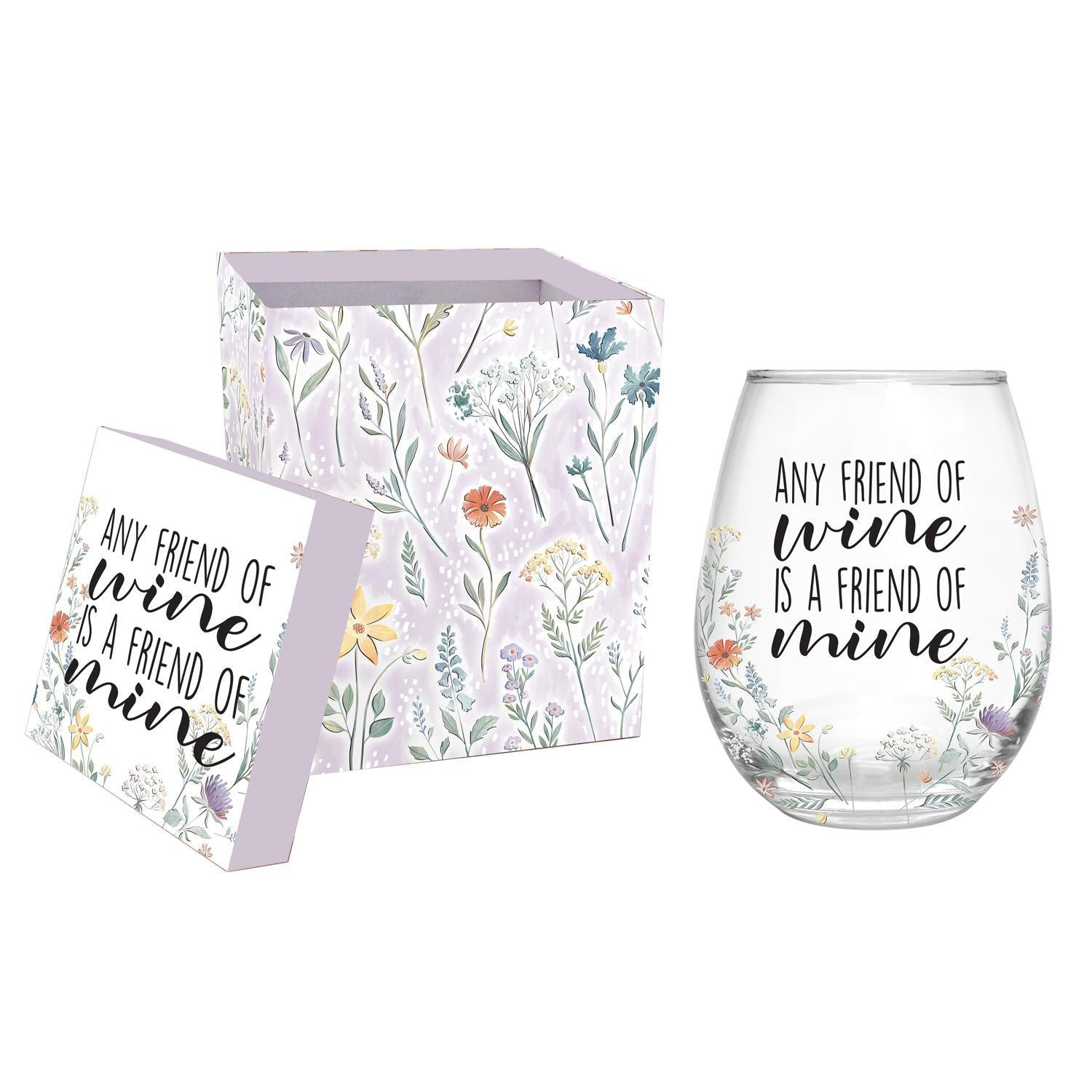 Any Friend of Wine Stemless Wine Glass
