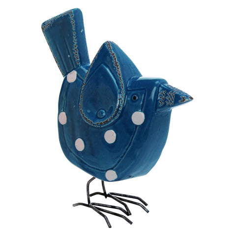 Ceramic 9 in. Purple Spring Polka Dot Bird Figurine