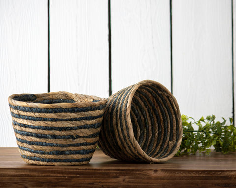 Set of 2 Blue Stripe Natural Baskets Small