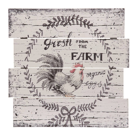 Wood 14 in. White Spring Farmhouse Chicken Slat Sign