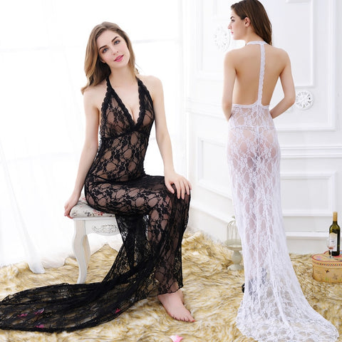 New Hot Erotic Sexy Lace Transparent Conjoined Dress Free Shipping
