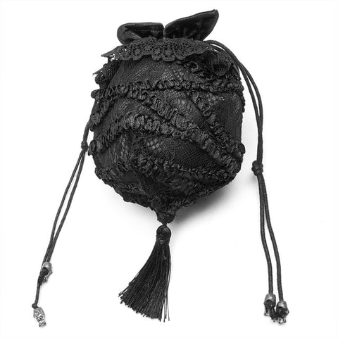 PUNK RAVE Exquisite Balck Lace Draw Rope Small Handbag Accessories