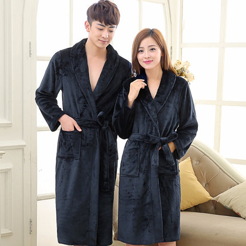For Lovers Men and Women Warm Super Soft Fleece Bathrobes