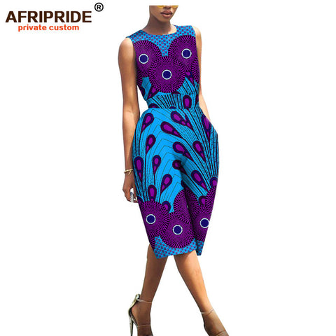 Sleeveless Knee-length African Print Romper