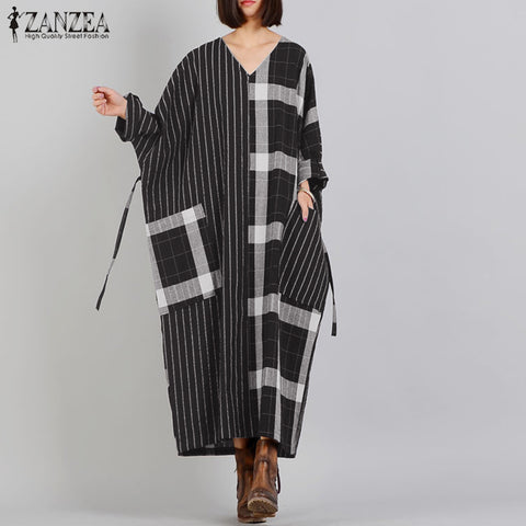 Vintage Check Casual Long Sleeve Stripe Robe 5XL