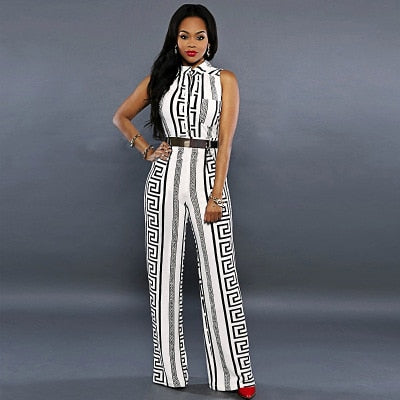 Folk Print Straight Style Trouser Jumpsuits
